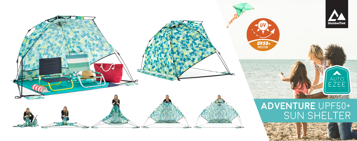 Auto Ezee pop up sun shelters have UPF50+. Adventure sun shelter is shown in a blue green tropical floral print with two beach chairs inside. A sequence of images shows how easily it sets up with a single person.