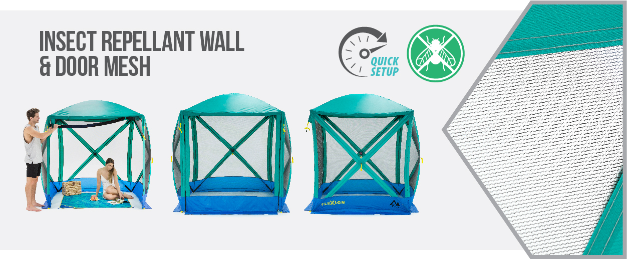 Flexion shelters, by SlumberTrek have insect repellent wall and door mesh, and quick setup