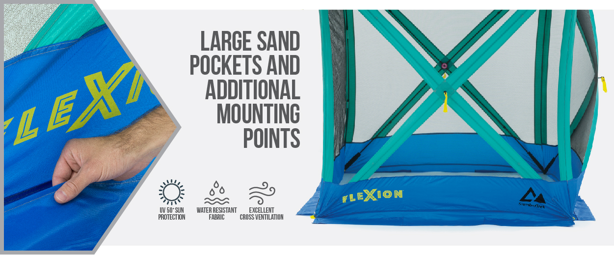 Flexion Shelter by SlumberTrek has large sand pockets and additional mounting points. Also UPF 50+, water resistant fabric and excellent cross ventilation