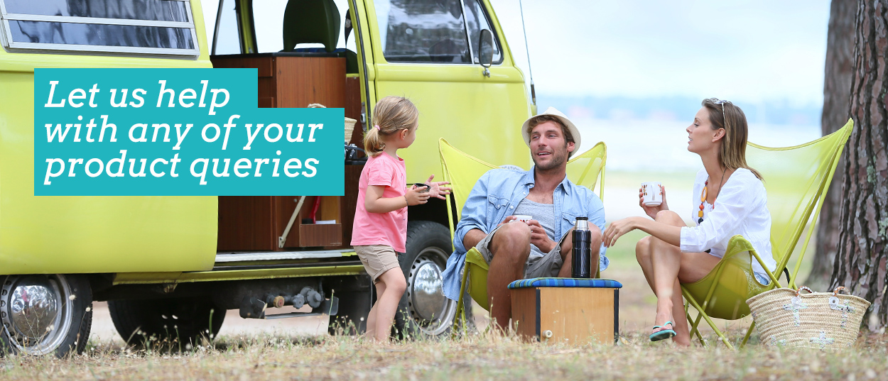 Let us (SlumberTrek) help with any of your product enquiries. Images shows family outside campervan sitting in butterfly camp chairs