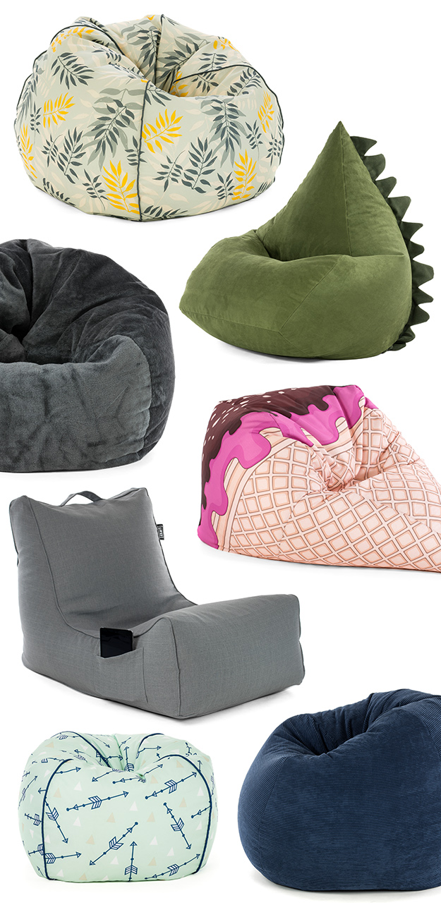 SlumberTrek bean bags including coastal lounger, ice cream cone, faux fur, dinosuar trip and classic piped teardrops in plain or prints