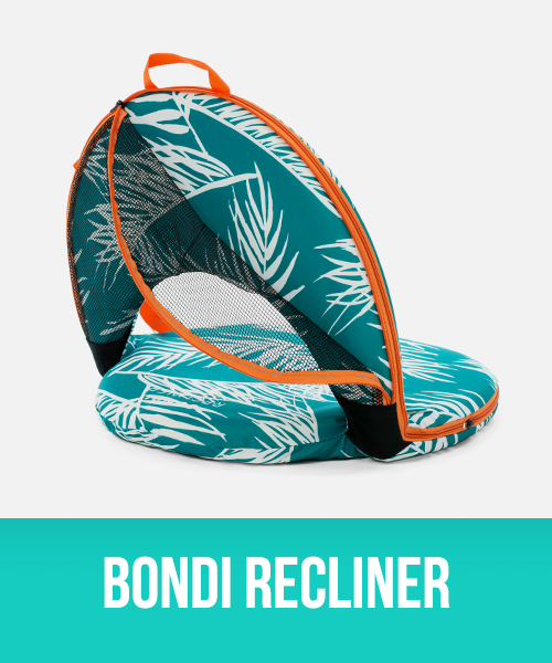 Bondi Cushion Recliner with palm frond print and orange trim