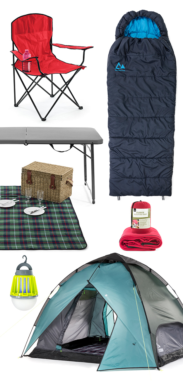 SlumberTrek camping equipment including folding camp chair, sleeping bag, portable table, picnic rug, blanket, portable LED lighting and auto ezee pop up tent