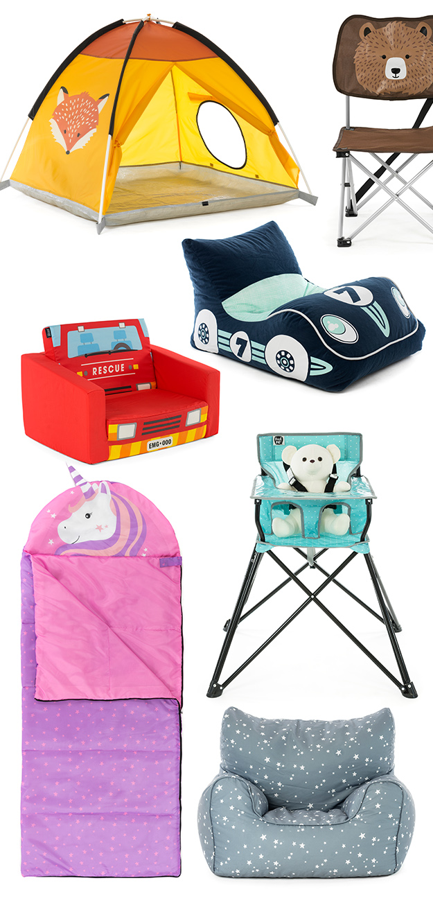 SlumberTrek kids products including auto ezee pop up play ten, racing car bean bag, bear motif folding camp chair, unicorn sleeping bag, portable camping high chair