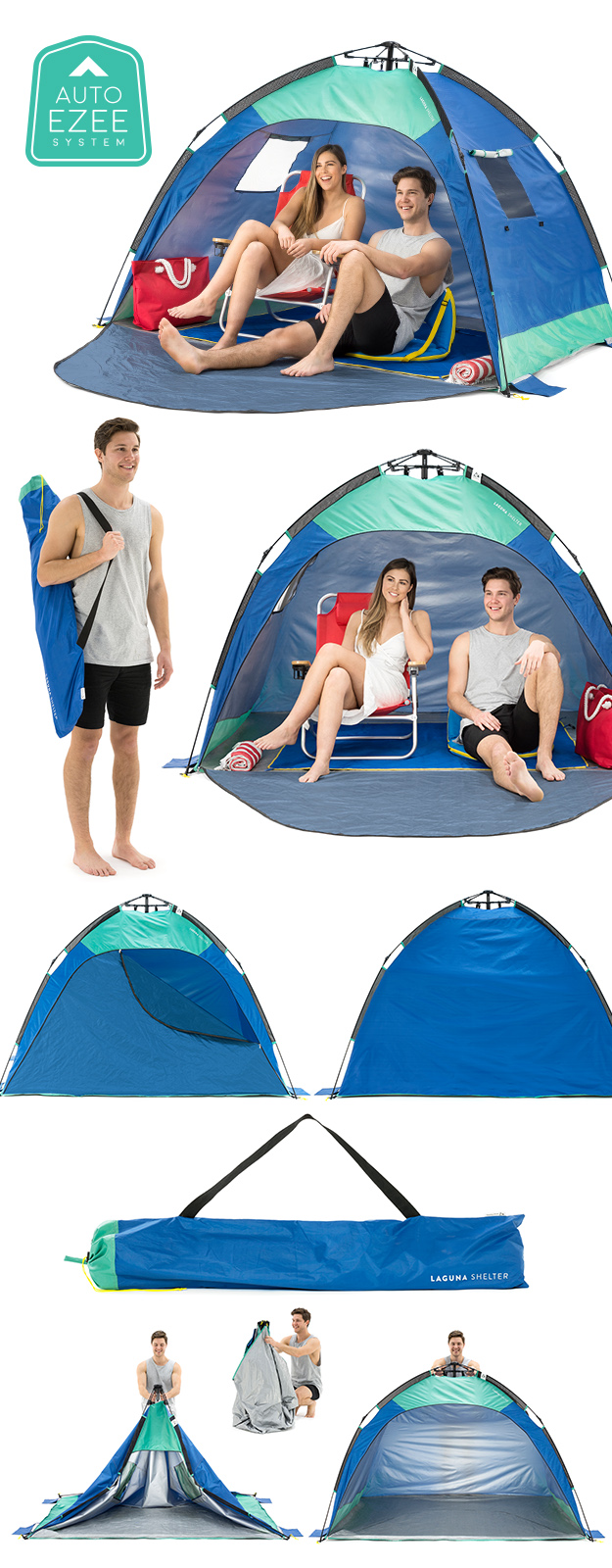 SlumberTrek Auto Ezee Laguna Sun Shelter images showing use, setup and carry bag