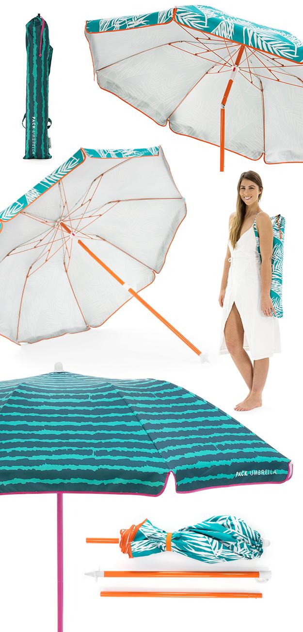 Pack umbrella showing shape, size, tilt mechanism and carry bag