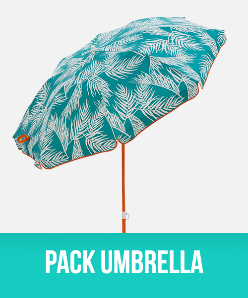 Pack Umbrella in palm front print with orange trim