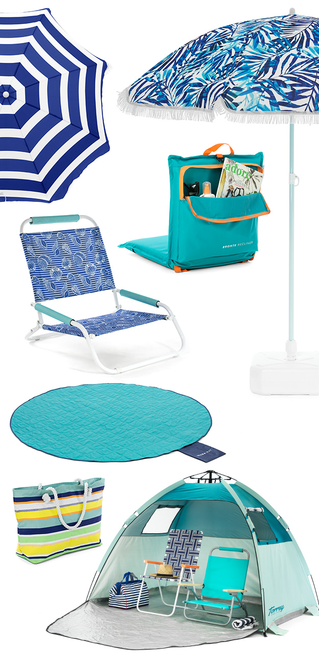 SlumberTrek Summer Products including umbrellas, beach chairs, cushion recliners, adventure mats, totes and torrey auto ezee sun shelter