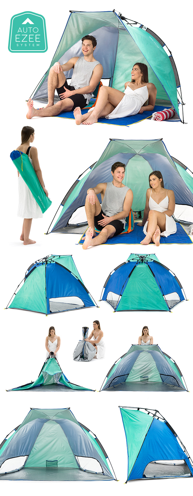 SlumberTrek Tahiti Auto Ezee Sun Shelter images showing use, setup and carry bag