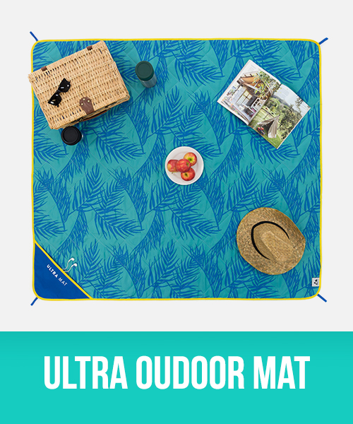 Ultra outdoor adventure mat in palm frond print with yellow trim
