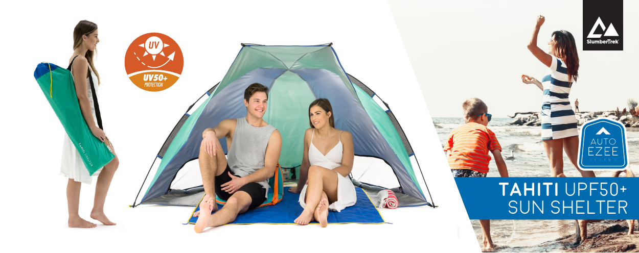 Auto Ezee sun shelters have UV50+ protection and the tahiti sun shelter is shown with a couple seated comfortably inside.