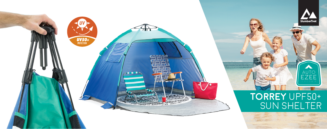 Auto Ezee sun shelters have UV50+ protection. The Torrey sun shelter is shown with two camp chairs inside.