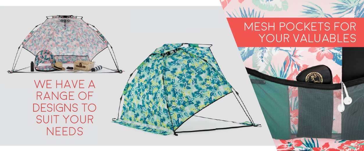 Auto Ezee pop up sun shelters have mesh pockets for your valuables and come in a range of designs to suit your needs.