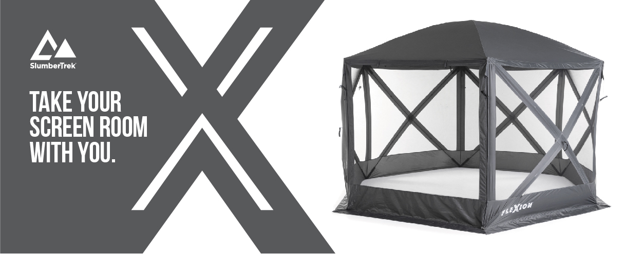 Flexion shelters by SlumberTrek allow you to take your screen room with you. Black and white image of Flexion Shelter setup.
