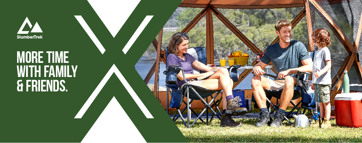 Flexion Shelters by SlumberTrek for more time with family and friends. Color outdoor image of family camping and fishing with a brown Flexion Shelter.