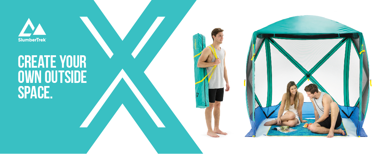 With Flexion Shelters by SlumberTrek you can create your own outside space. Image of couple relaxing in shelter and man carrying shelter in carry bag.