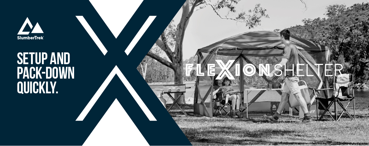 Flexion Shelter, by SlumberTrek, setup and pack-down quickly; Image of family in bushland in shelter