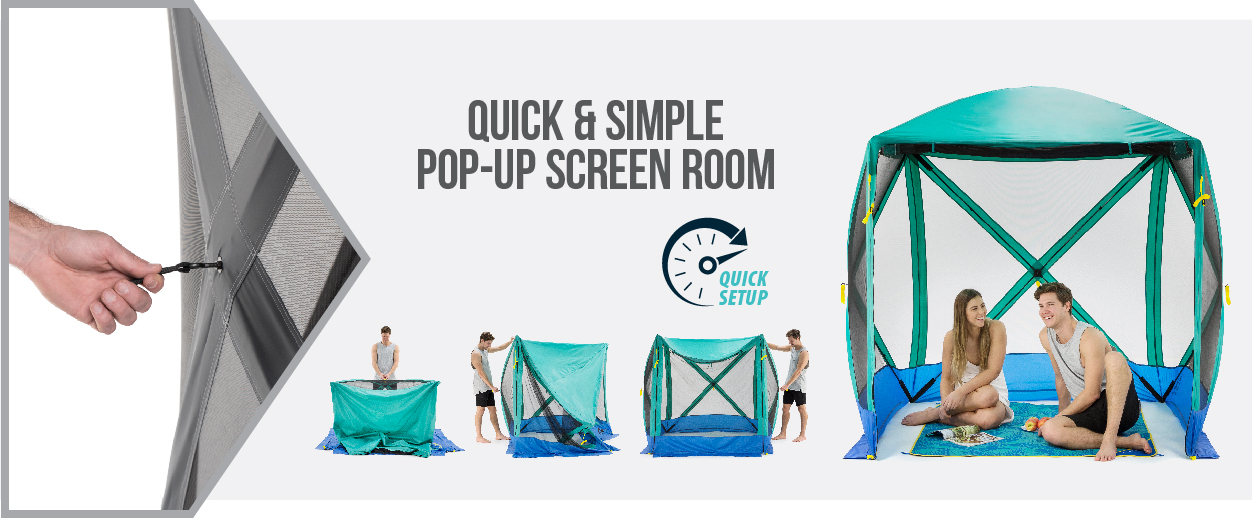 Flexion Shelters by SlumberTrek, are quick and simple popup screen rooms.