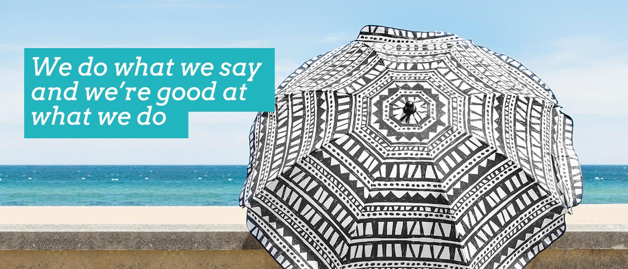 We (SlumberTrek) do what we say and we're good at what we do. Image displays geometric bermuda print Vienna Woods umbrella
