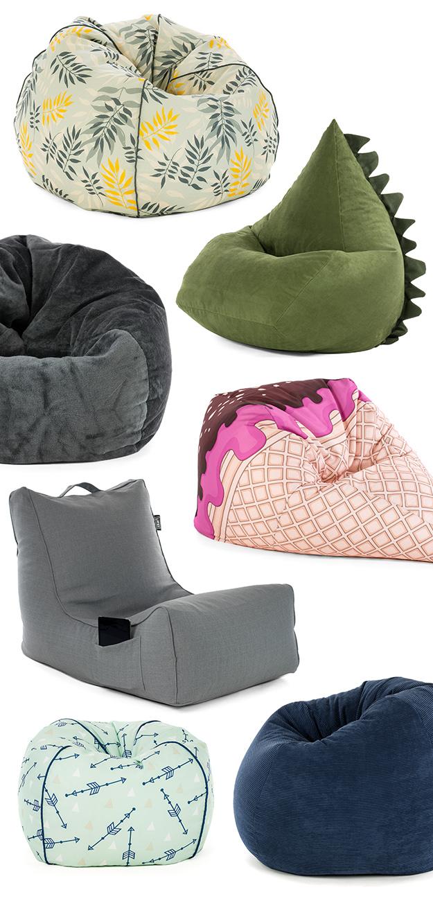 SlumberTrek bean bags including coastal lounger, ice cream cone, faux fur, dinosuar trip and classic piped teardrops in plain or prints