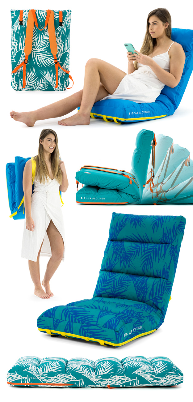 BigSur bench cushion recliner product showing back pack straps, reclining motion and positions