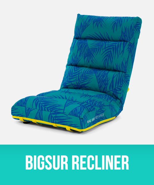 BigSur Cushion Recliner in palm front print with yellow trim