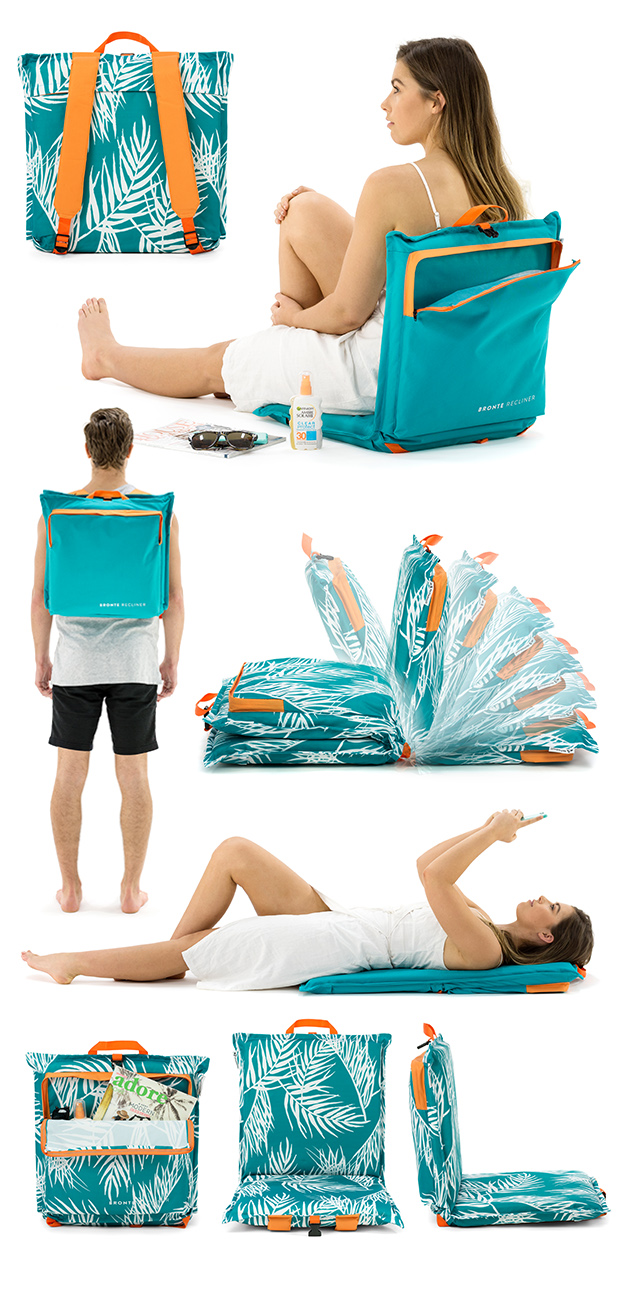 Bronte Cushion Recliner images in use, backpack straps, recliner positions, storage pocket and in use when flat