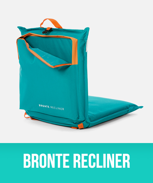 Bronte Cusion recliner showing storage pocket and carry strap