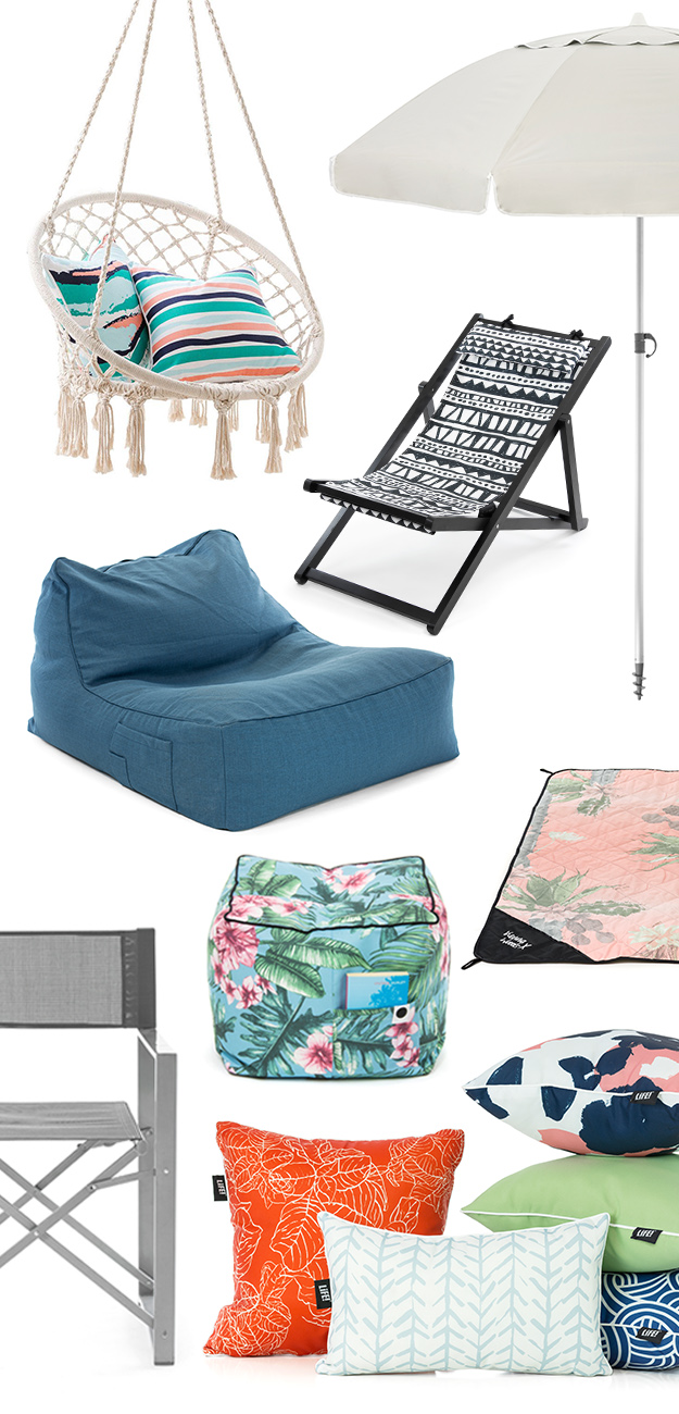 SlumberTrek casual living products including umbrella, deck chair, hanging chair, lounger bean bag, tropical print ottoman, picnic rug adventure mat, directors chair and assorted cushions