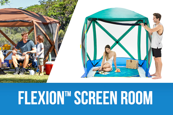 SlumberTrek Flexion sun shelter screen room outdoor space.
