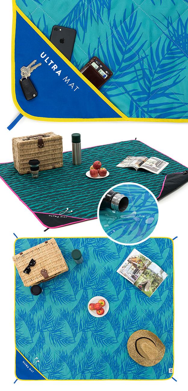 Ultra mat showing print, shape, loops, base material and pockets