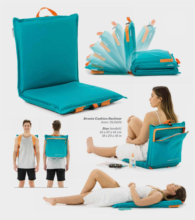 Images of the Bronte Cushion recliner showing it in use, being used as a backpack, the multiple recline positions and it used flat